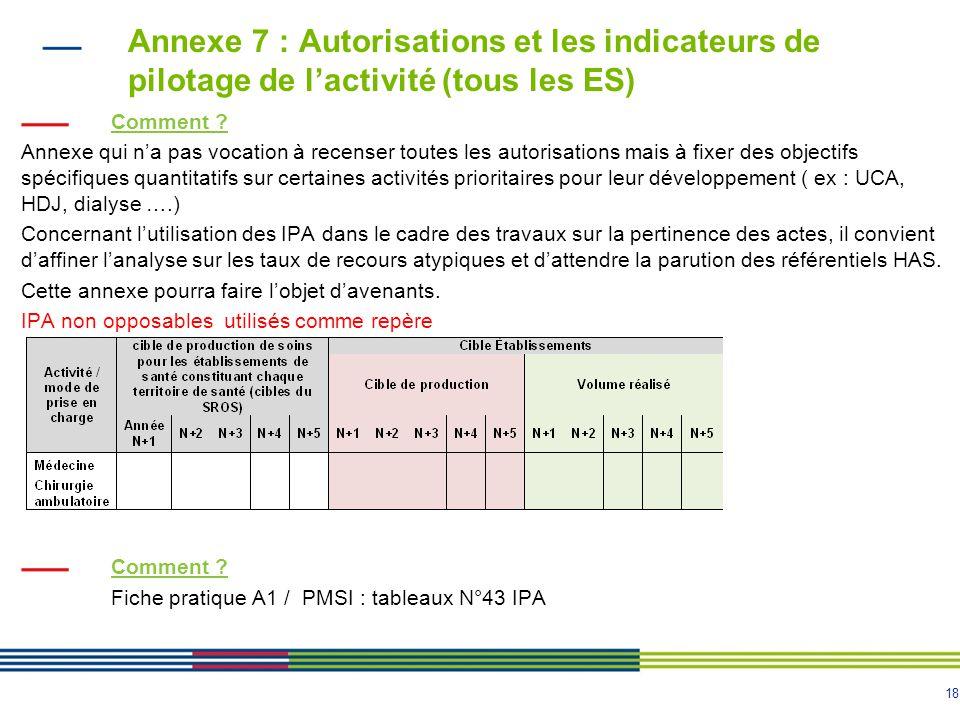 Annexe 7 : Autorisations et les indicateurs de pilotage de l'activité (tous les ES)