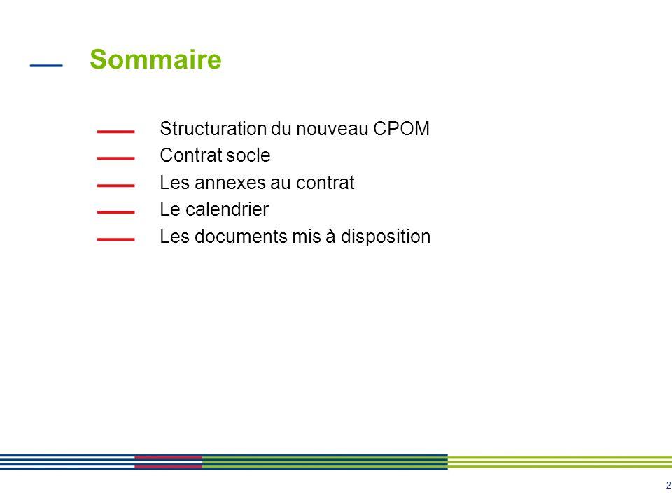 Sommaire Structuration du nouveau CPOM Contrat socle