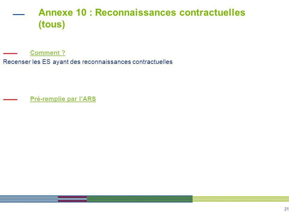 Annexe 10 : Reconnaissances contractuelles (tous)
