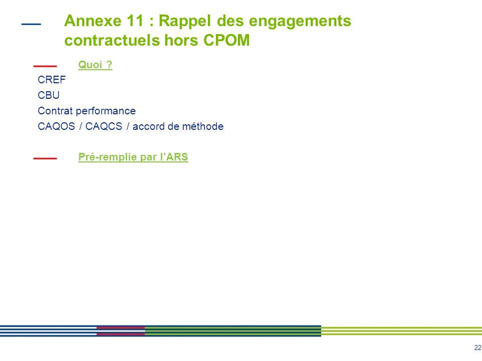 Annexe 11 : Rappel des engagements contractuels hors CPOM
