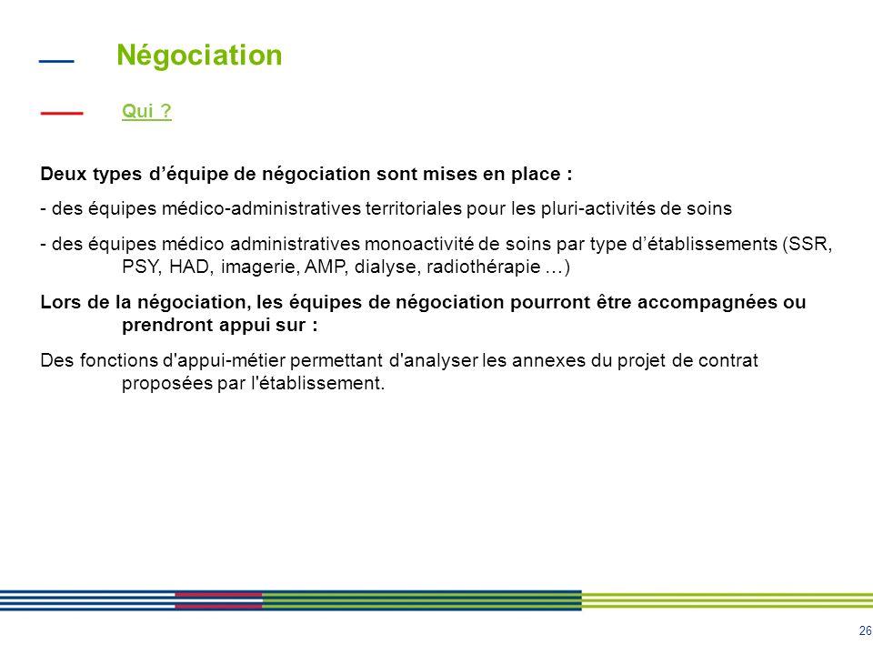 Négociation Qui Deux types d'équipe de négociation sont mises en place :