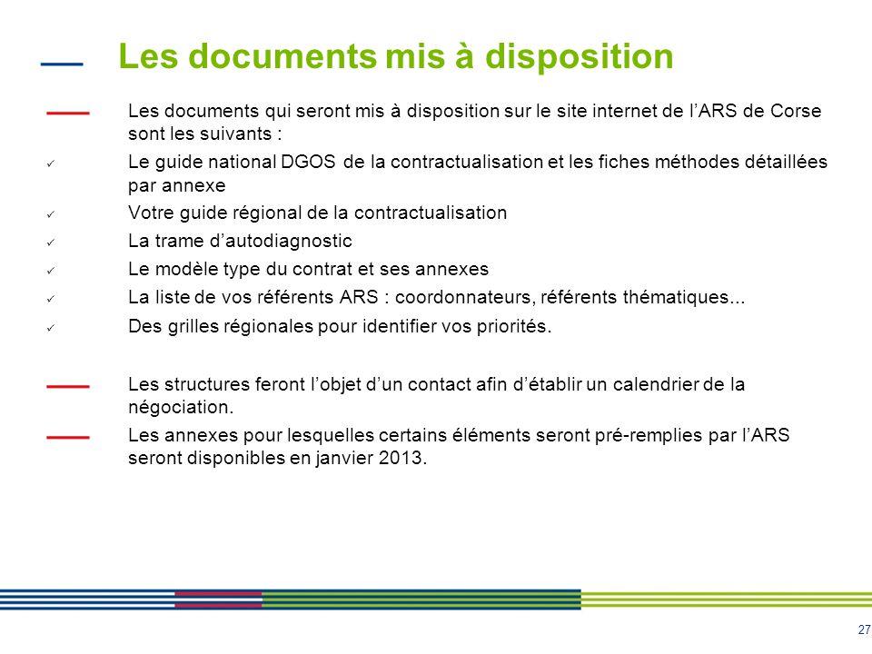 Les documents mis à disposition