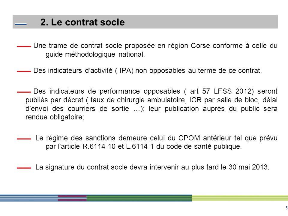 2. Le contrat socle Une trame de contrat socle proposée en région Corse conforme à celle du guide méthodologique national.