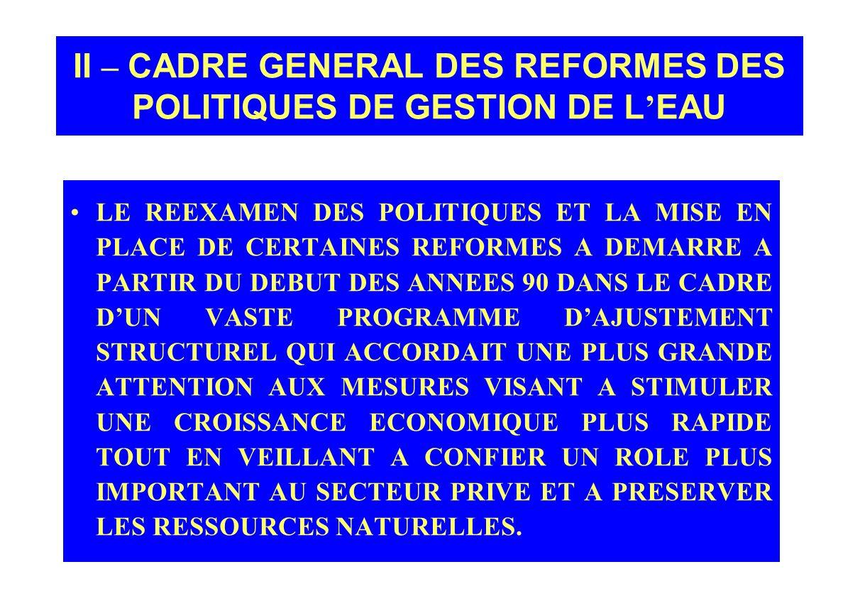 II – CADRE GENERAL DES REFORMES DES POLITIQUES DE GESTION DE L'EAU