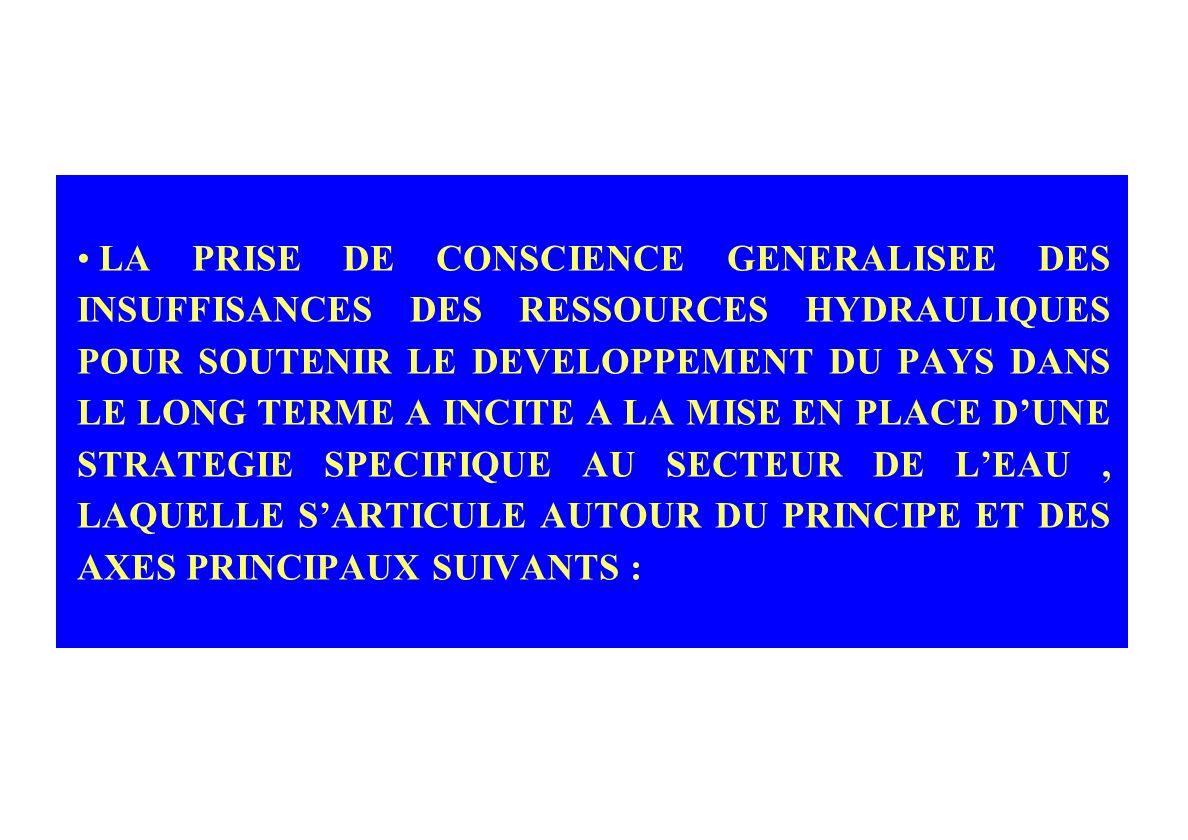 LA PRISE DE CONSCIENCE GENERALISEE DES INSUFFISANCES DES RESSOURCES HYDRAULIQUES POUR SOUTENIR LE DEVELOPPEMENT DU PAYS DANS LE LONG TERME A INCITE A LA MISE EN PLACE D'UNE STRATEGIE SPECIFIQUE AU SECTEUR DE L'EAU , LAQUELLE S'ARTICULE AUTOUR DU PRINCIPE ET DES AXES PRINCIPAUX SUIVANTS :
