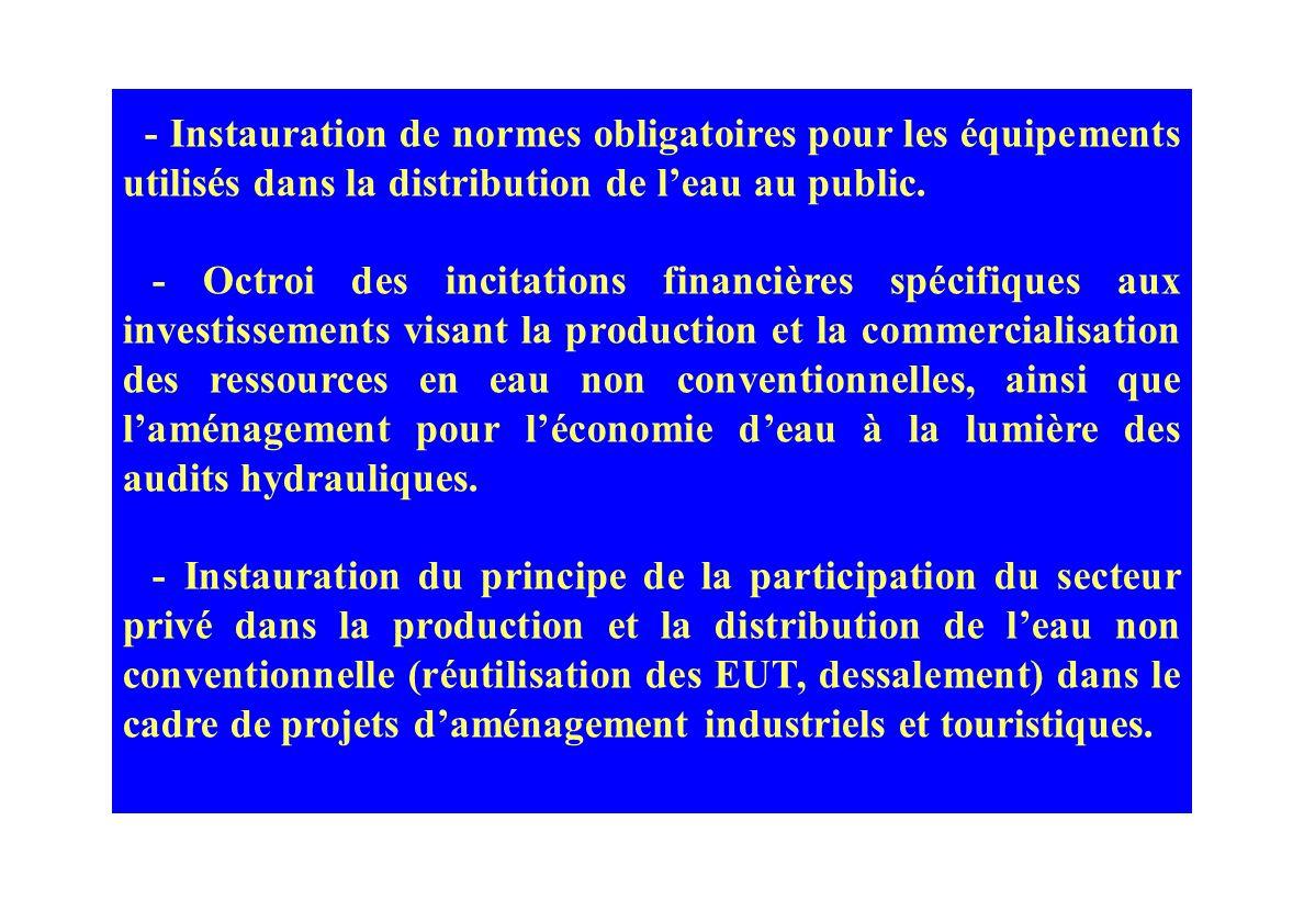 - Instauration de normes obligatoires pour les équipements utilisés dans la distribution de l'eau au public.