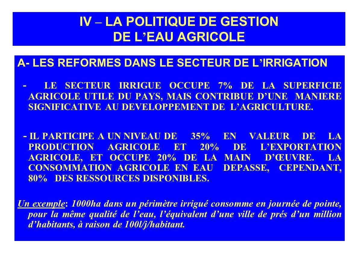 IV – LA POLITIQUE DE GESTION DE L'EAU AGRICOLE