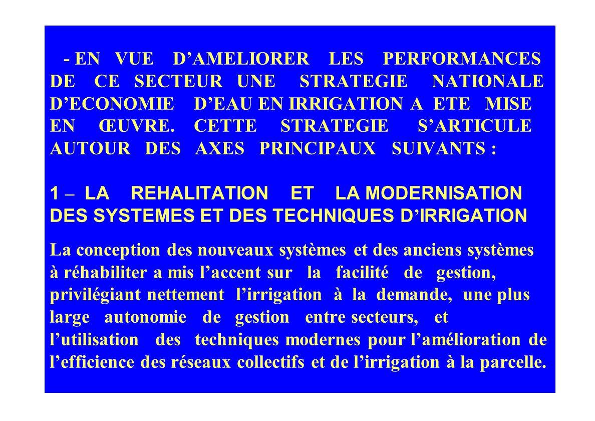 - EN VUE D'AMELIORER LES PERFORMANCES DE CE SECTEUR UNE STRATEGIE NATIONALE D'ECONOMIE D'EAU EN IRRIGATION A ETE MISE EN ŒUVRE.