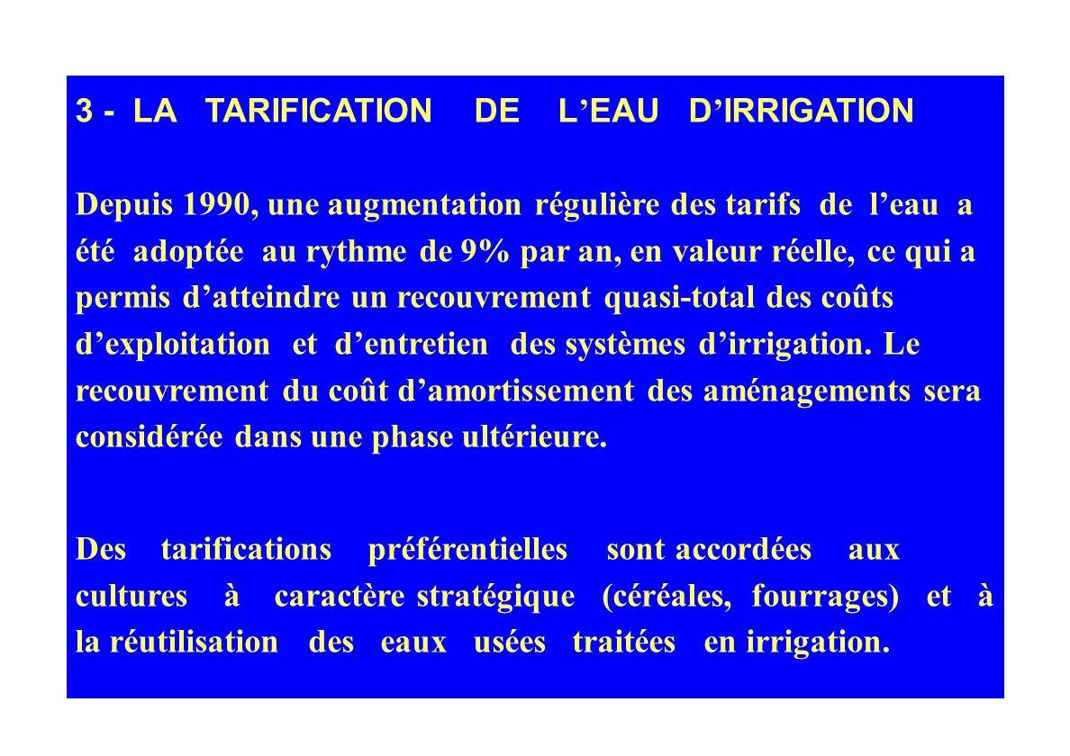 3 - LA TARIFICATION DE L'EAU D'IRRIGATION