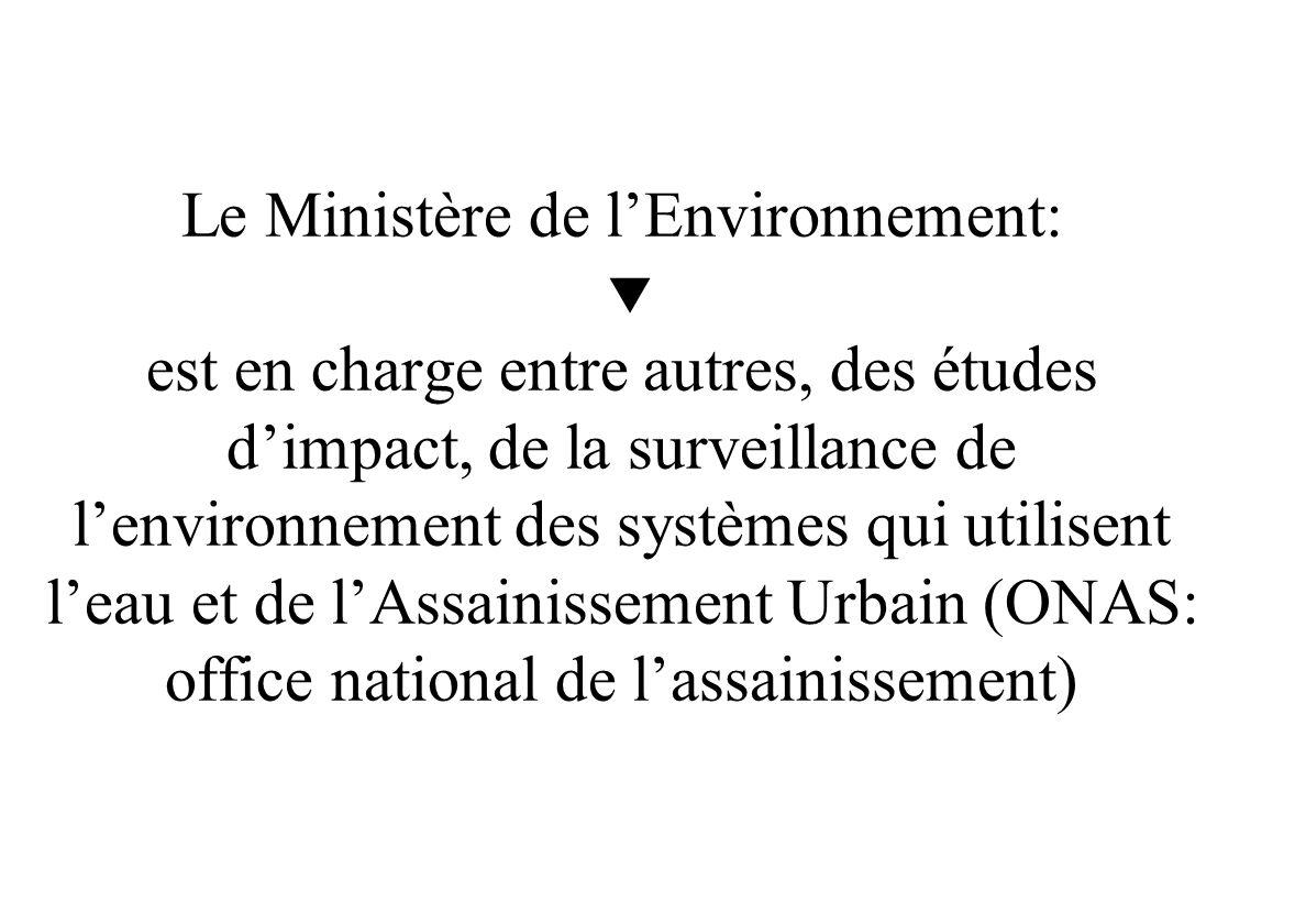 Le Ministère de l'Environnement:  est en charge entre autres, des études d'impact, de la surveillance de l'environnement des systèmes qui utilisent l'eau et de l'Assainissement Urbain (ONAS: office national de l'assainissement)