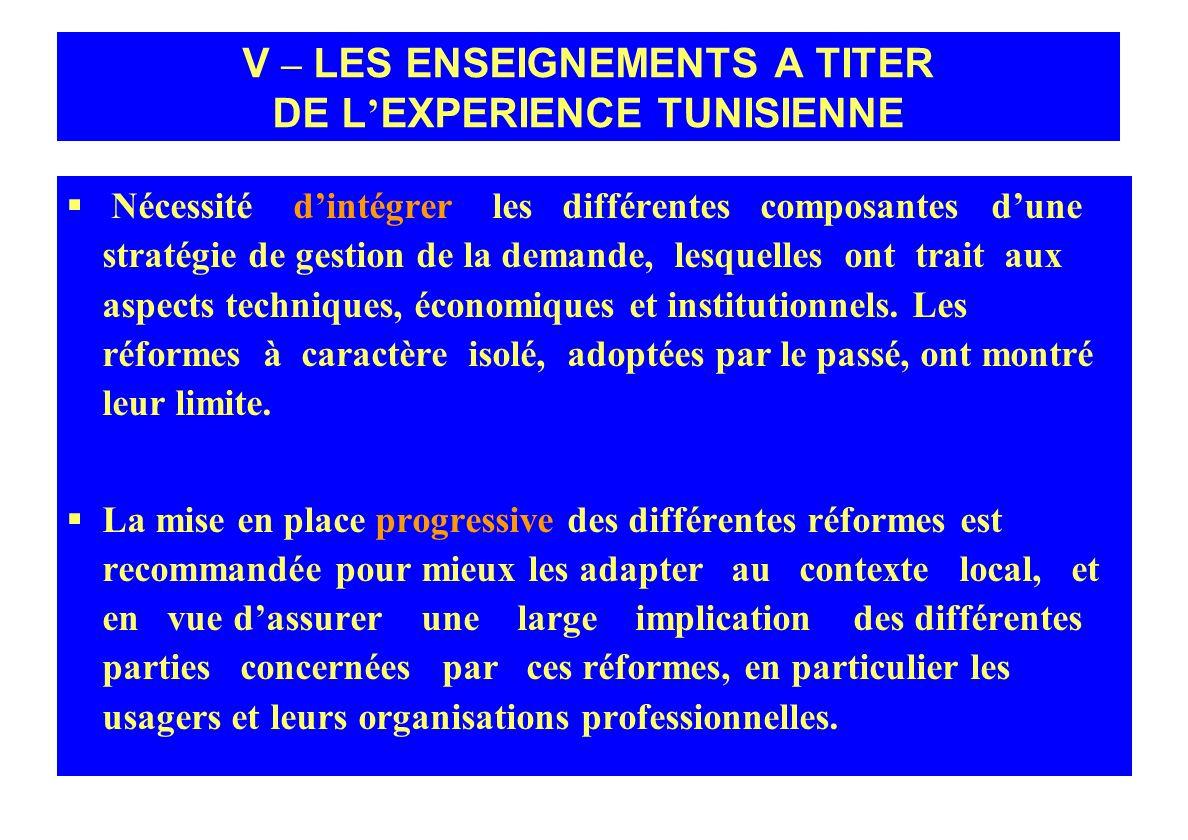 V – LES ENSEIGNEMENTS A TITER DE L'EXPERIENCE TUNISIENNE