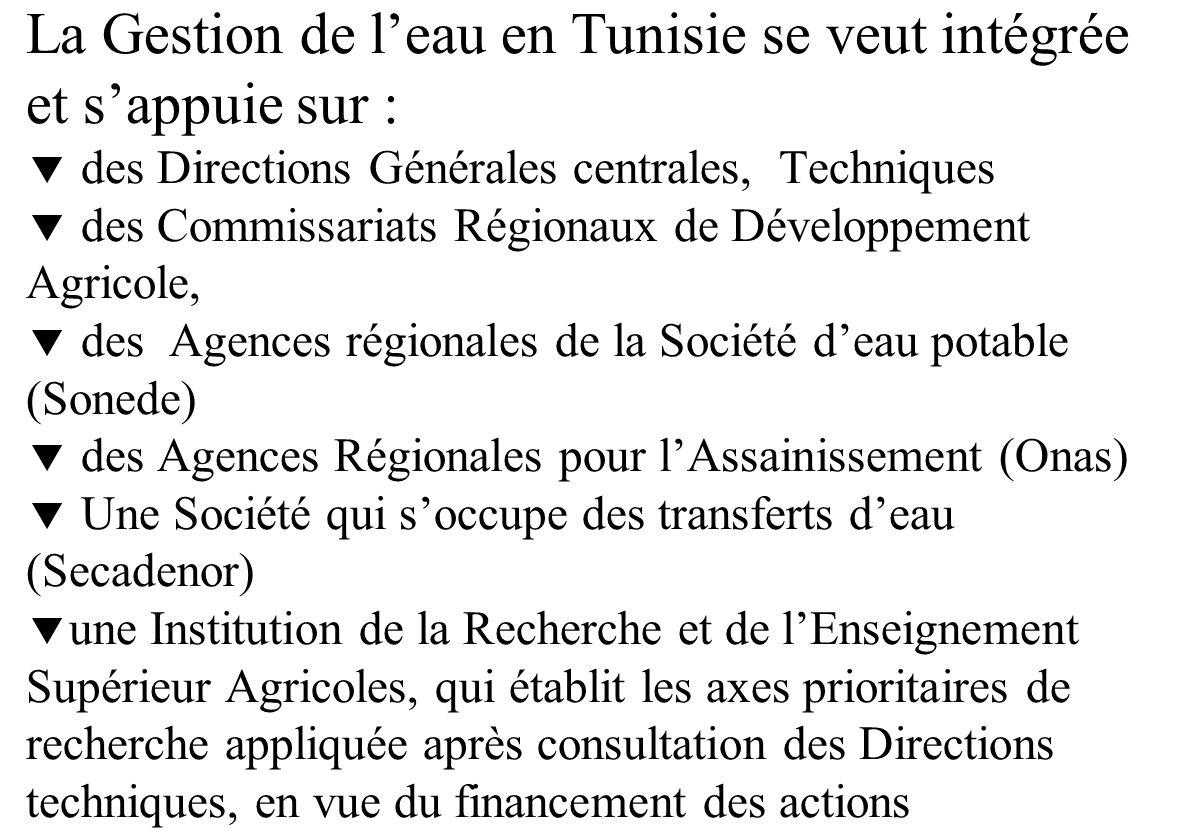 La Gestion de l'eau en Tunisie se veut intégrée et s'appuie sur :  des Directions Générales centrales, Techniques  des Commissariats Régionaux de Développement Agricole,  des Agences régionales de la Société d'eau potable (Sonede)  des Agences Régionales pour l'Assainissement (Onas)  Une Société qui s'occupe des transferts d'eau (Secadenor) une Institution de la Recherche et de l'Enseignement Supérieur Agricoles, qui établit les axes prioritaires de recherche appliquée après consultation des Directions techniques, en vue du financement des actions