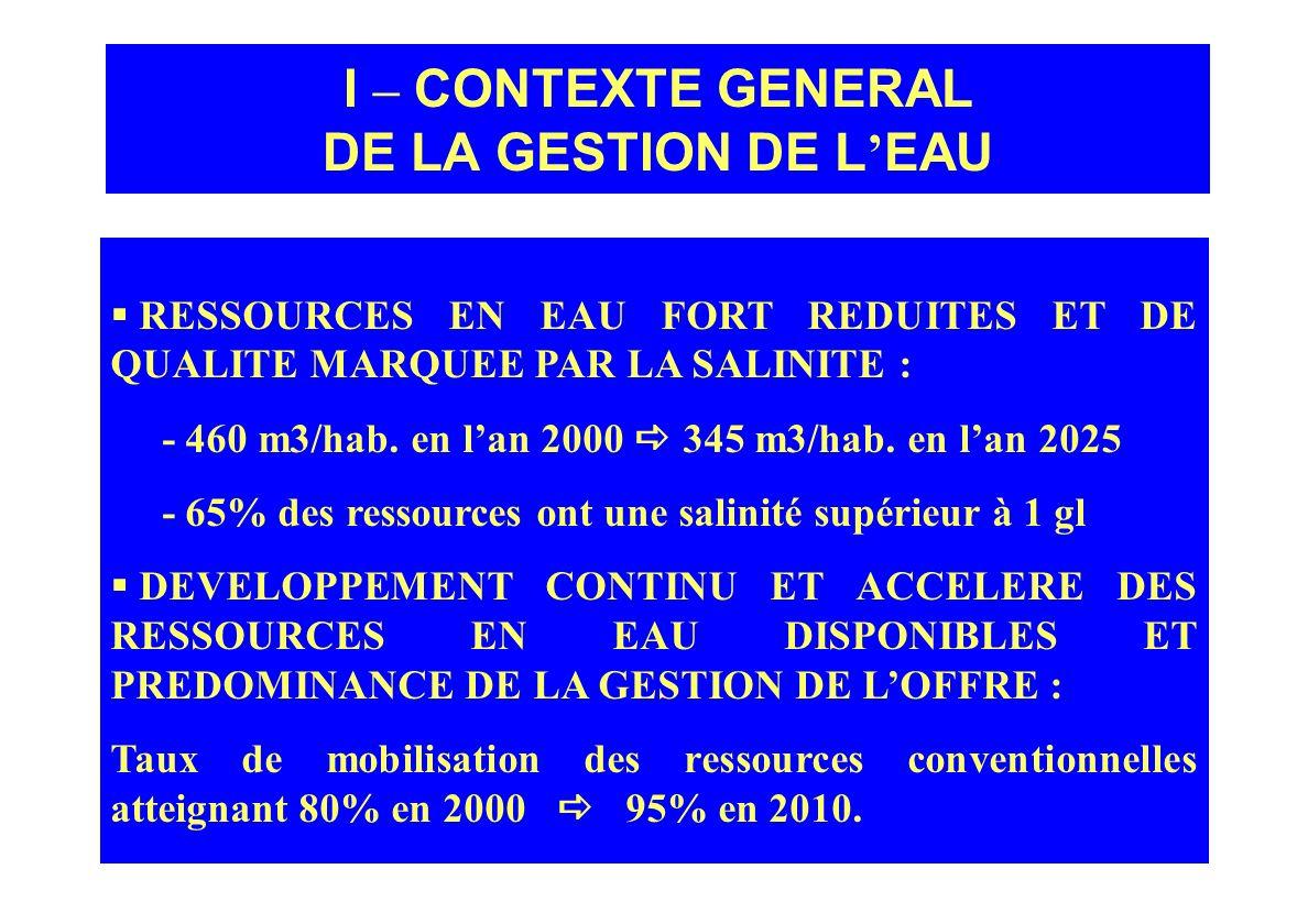 I – CONTEXTE GENERAL DE LA GESTION DE L'EAU