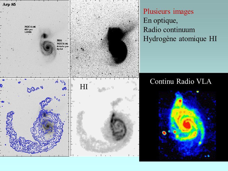 HI Plusieurs images En optique, Radio continuum Hydrogène atomique HI Continu Radio VLA Radio, VLA