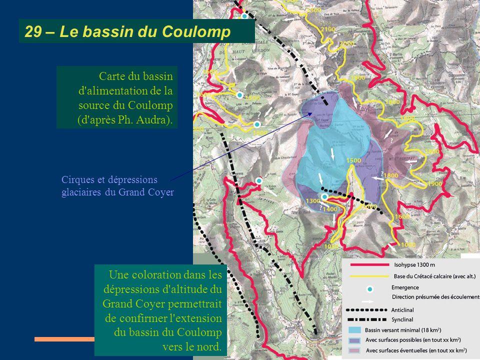 29 – Le bassin du Coulomp Carte du bassin d alimentation de la source du Coulomp (d après Ph. Audra).