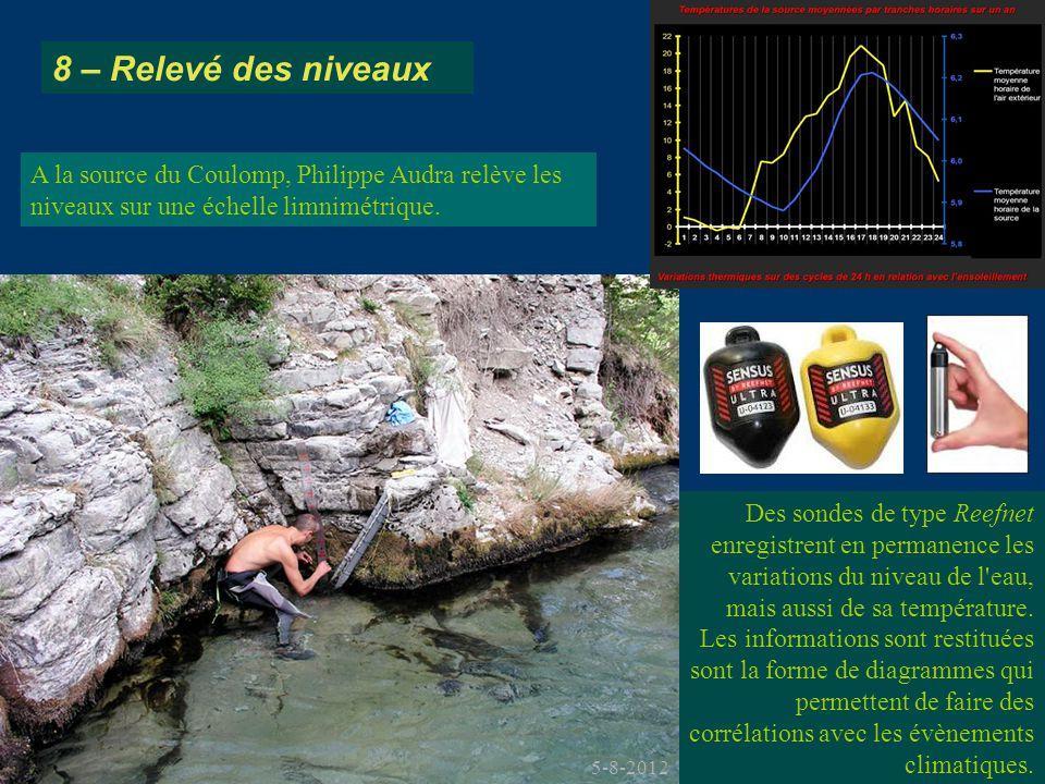 8 – Relevé des niveaux A la source du Coulomp, Philippe Audra relève les niveaux sur une échelle limnimétrique.