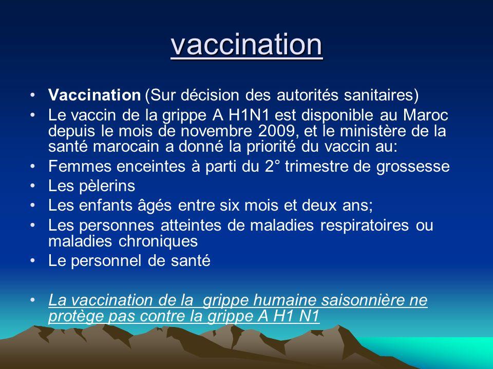 vaccination Vaccination (Sur décision des autorités sanitaires)