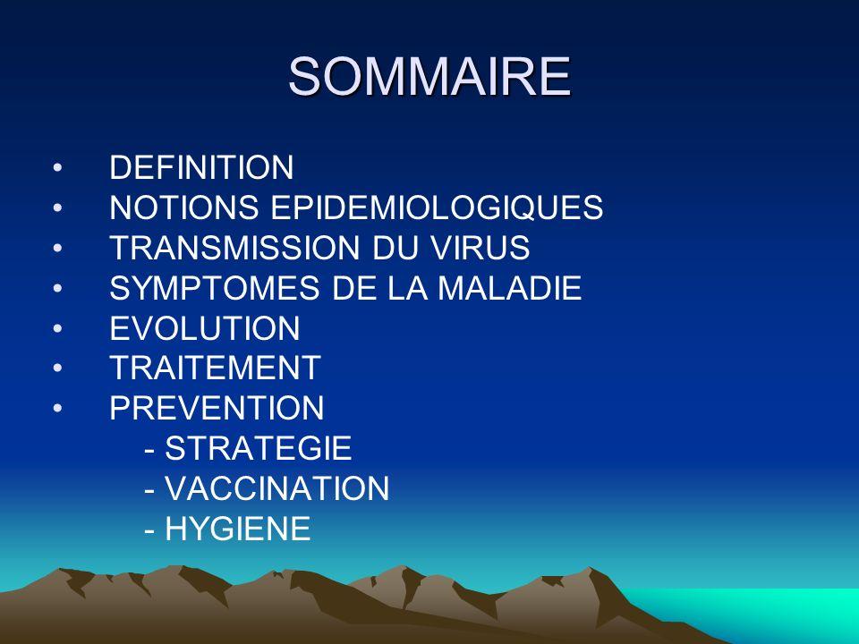 SOMMAIRE DEFINITION NOTIONS EPIDEMIOLOGIQUES TRANSMISSION DU VIRUS