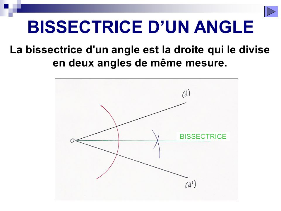 BISSECTRICE D'UN ANGLE