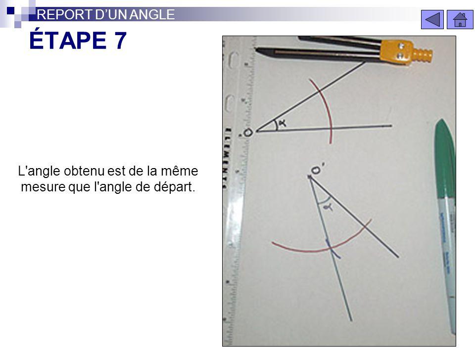 L angle obtenu est de la même mesure que l angle de départ.