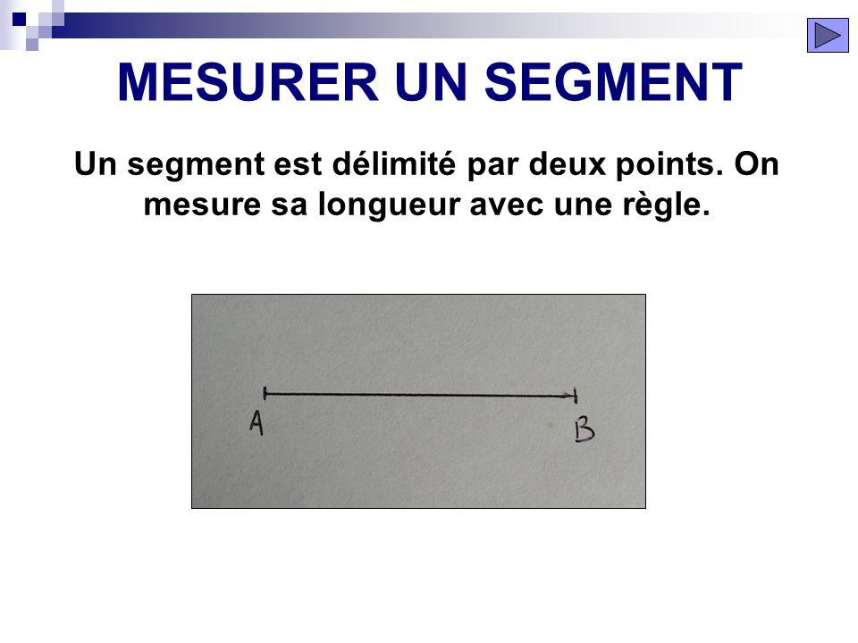 MESURER UN SEGMENT Un segment est délimité par deux points. On mesure sa longueur avec une règle.