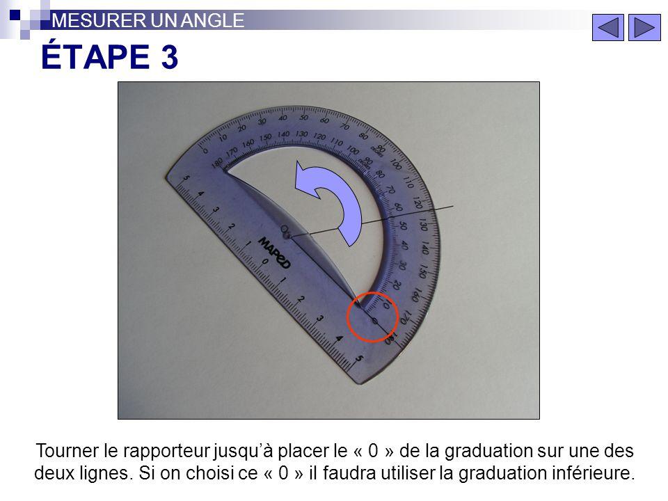 MESURER UN ANGLE ÉTAPE 3.