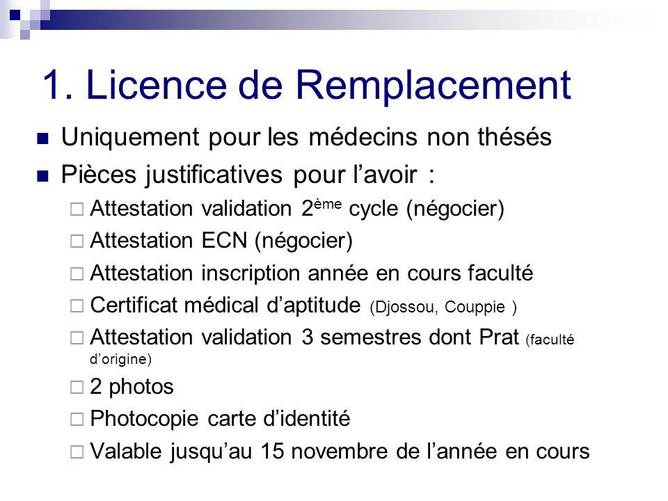 1. Licence de Remplacement