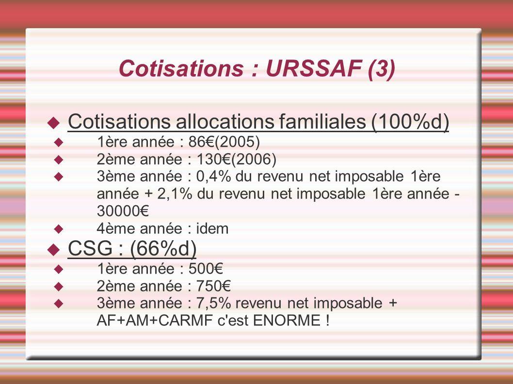 Cotisations : URSSAF (3)