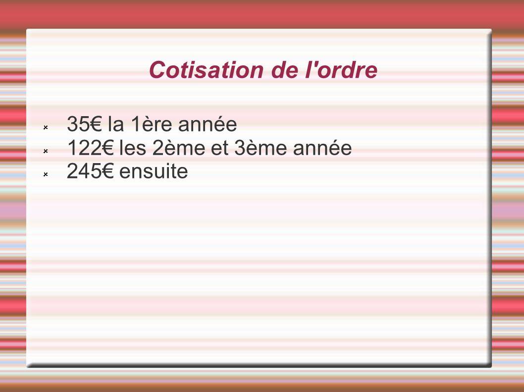 Cotisation de l ordre 35€ la 1ère année 122€ les 2ème et 3ème année