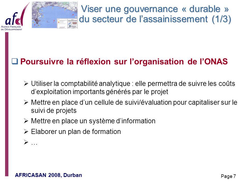 Viser une gouvernance « durable » du secteur de l'assainissement (1/3)