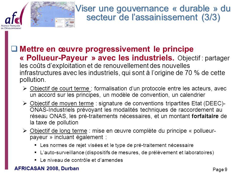 Viser une gouvernance « durable » du secteur de l'assainissement (3/3)