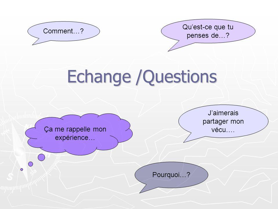 Echange /Questions Qu'est-ce que tu penses de… Comment…