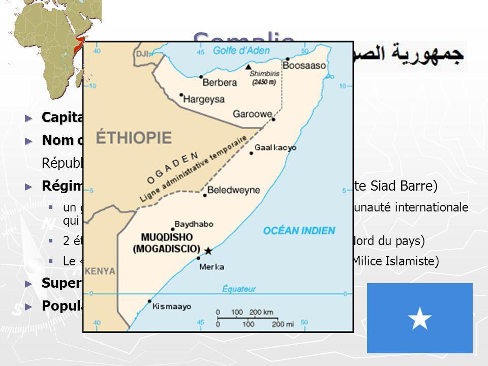 Somalie Capitale: Mogadiscio Nom officiel: République Somali