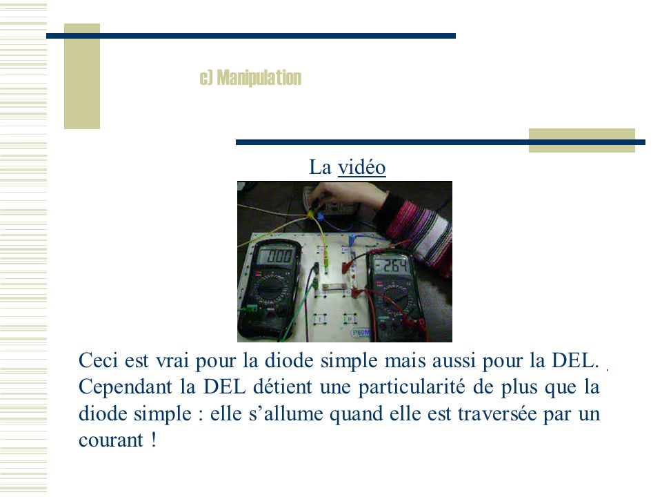 c) Manipulation La vidéo.