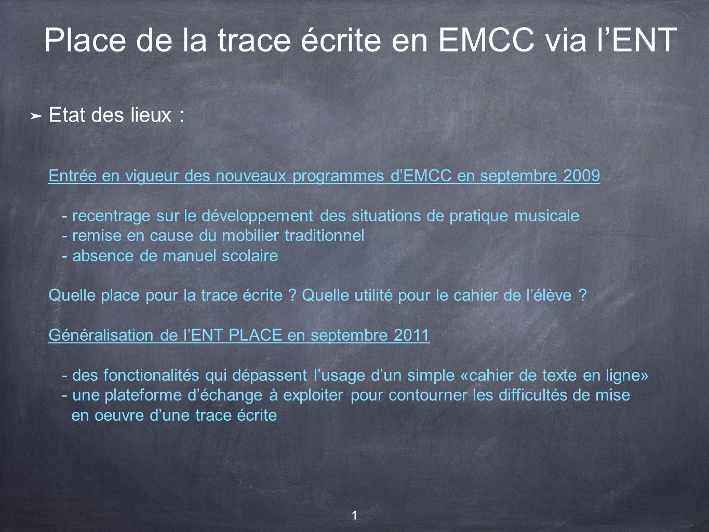 Place de la trace écrite en EMCC via l'ENT