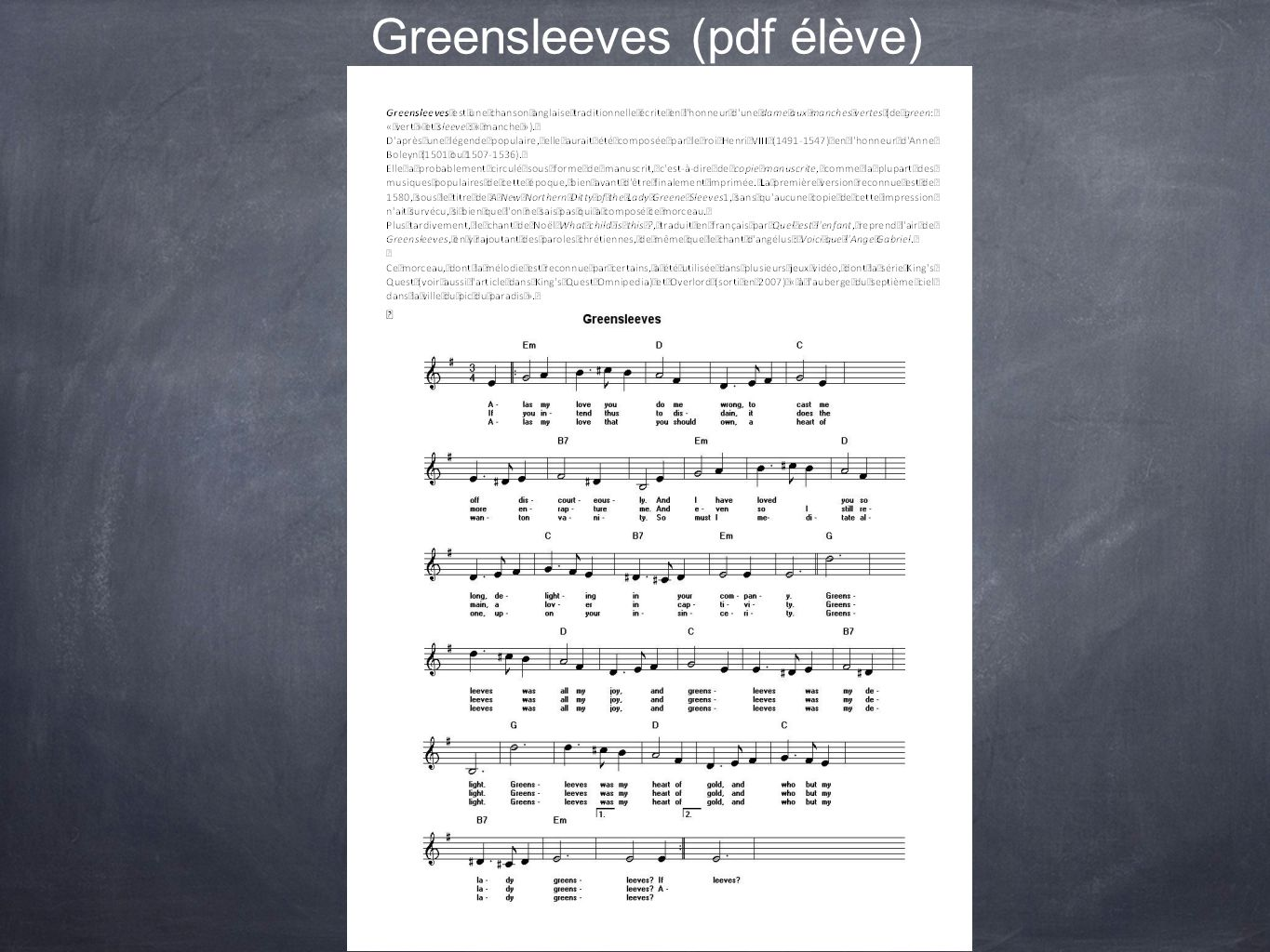Greensleeves (pdf élève)