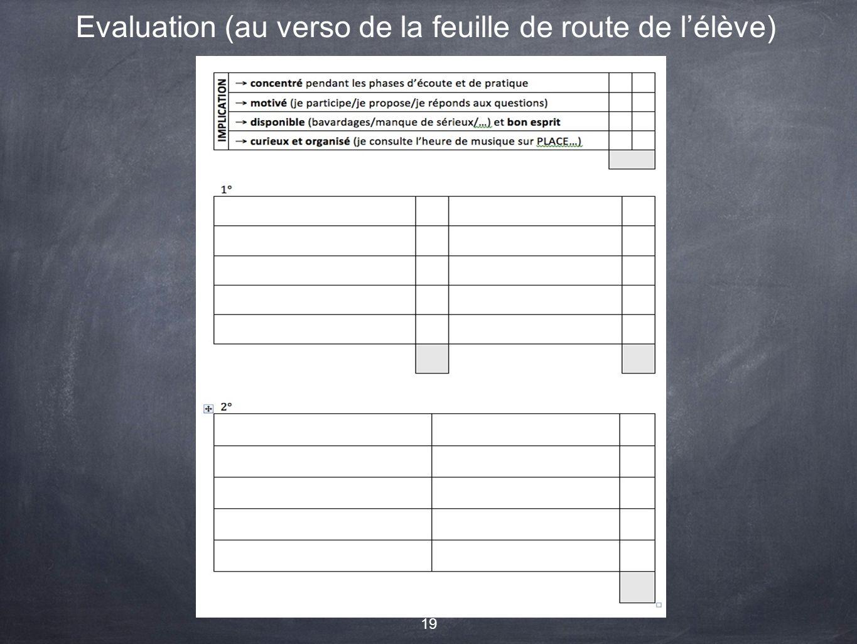 Evaluation (au verso de la feuille de route de l'élève)