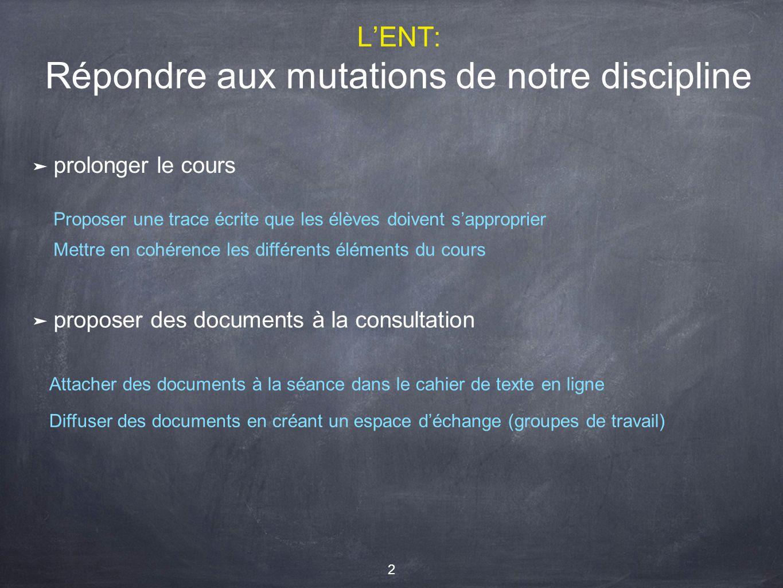 L'ENT: Répondre aux mutations de notre discipline