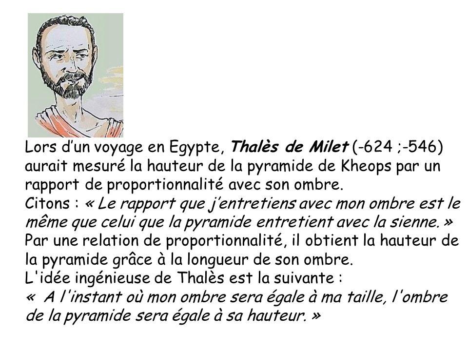 Lors d'un voyage en Egypte, Thalès de Milet (-624 ;-546)