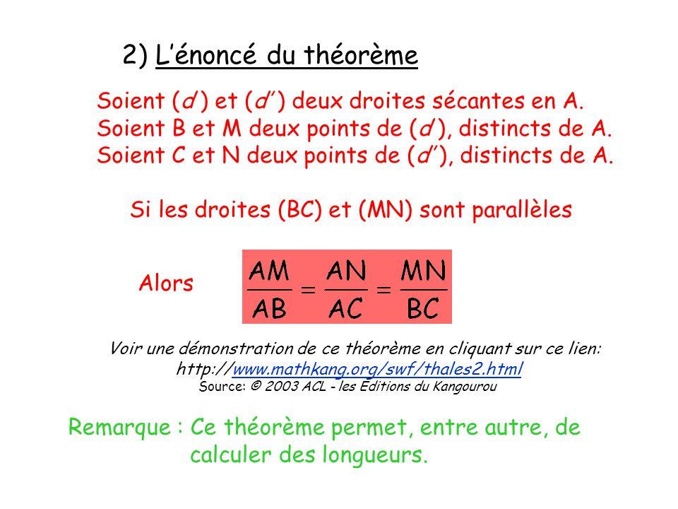 2) L'énoncé du théorème Soient (d ) et (d' ) deux droites sécantes en A. Soient B et M deux points de (d ), distincts de A.
