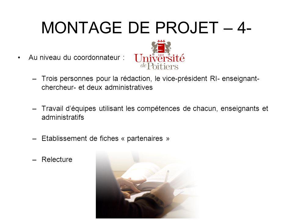 MONTAGE DE PROJET – 4- Au niveau du coordonnateur :