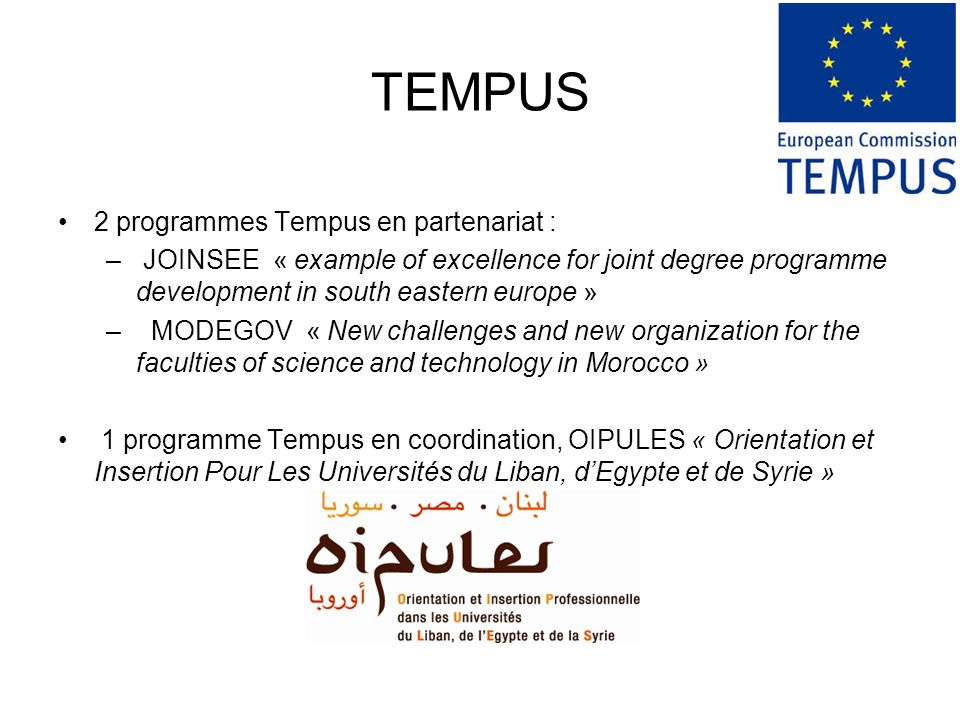 TEMPUS 2 programmes Tempus en partenariat :