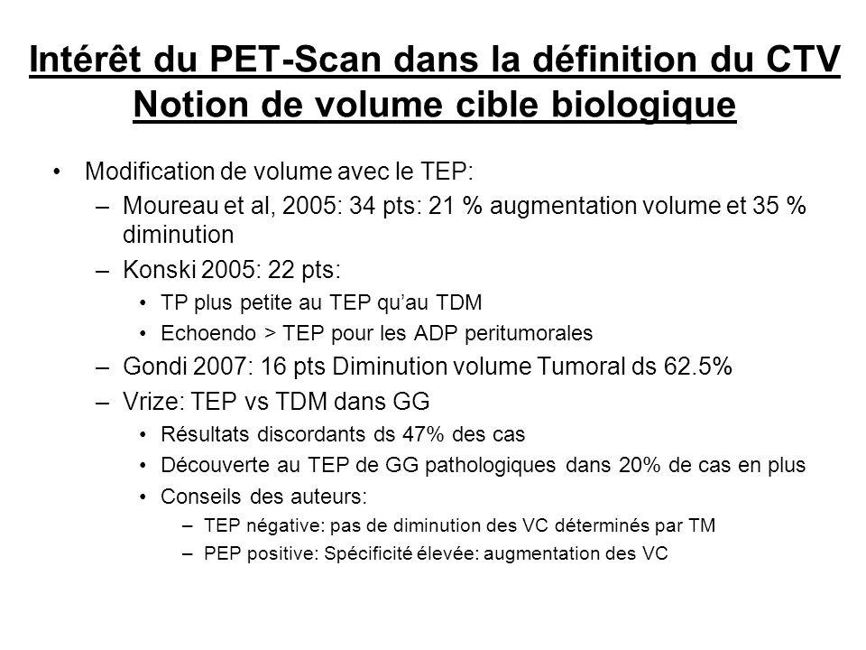 Intérêt du PET-Scan dans la définition du CTV Notion de volume cible biologique