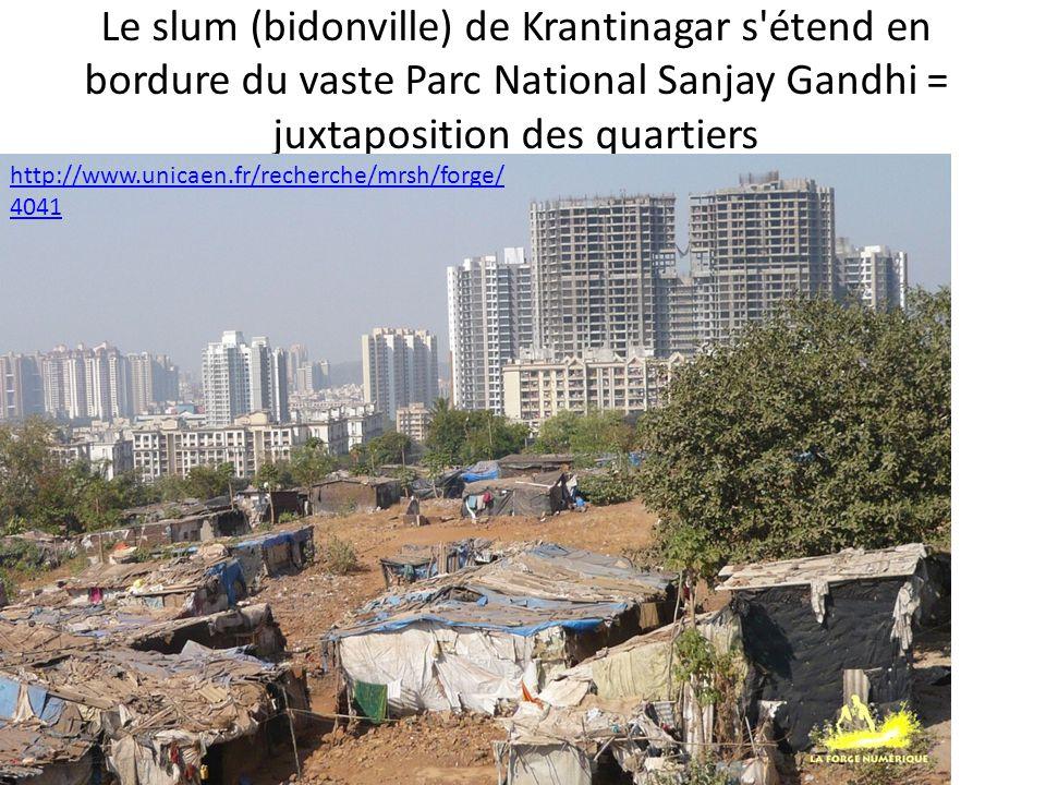 Le slum (bidonville) de Krantinagar s étend en bordure du vaste Parc National Sanjay Gandhi = juxtaposition des quartiers