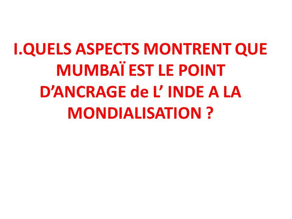I.QUELS ASPECTS MONTRENT QUE MUMBAÏ EST LE POINT D'ANCRAGE de L' INDE A LA MONDIALISATION