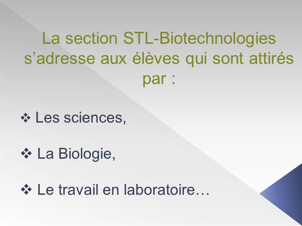 La section STL-Biotechnologies s'adresse aux élèves qui sont attirés par :