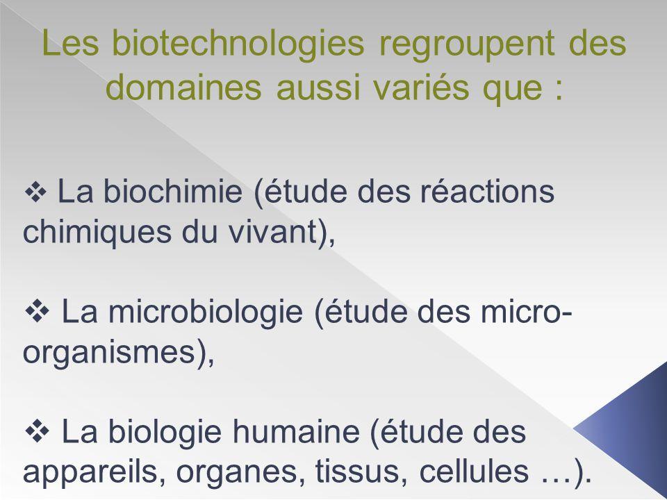 Les biotechnologies regroupent des domaines aussi variés que :