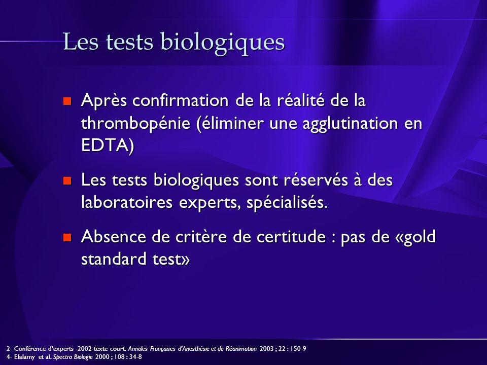 Les tests biologiques Après confirmation de la réalité de la thrombopénie (éliminer une agglutination en EDTA)