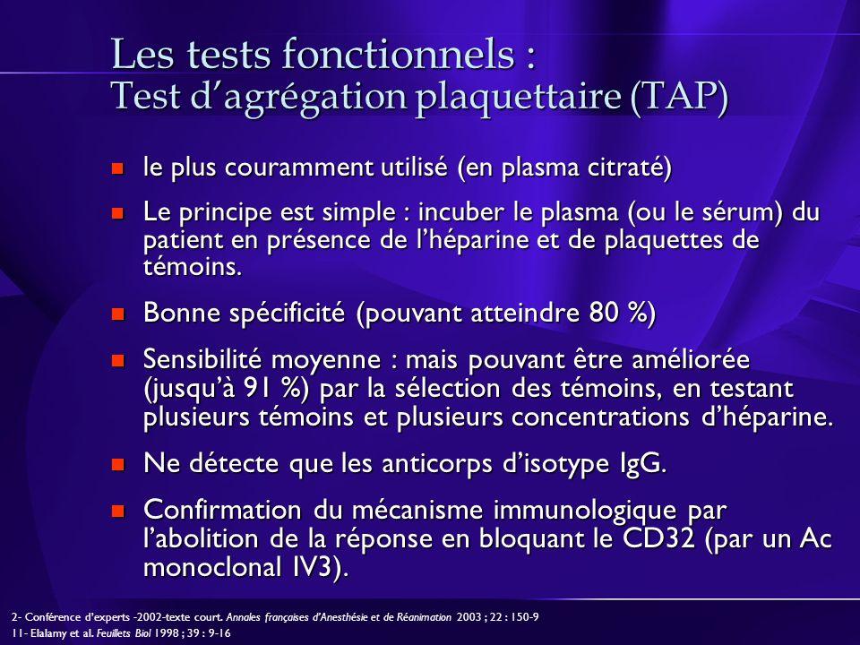 Les tests fonctionnels : Test d'agrégation plaquettaire (TAP)