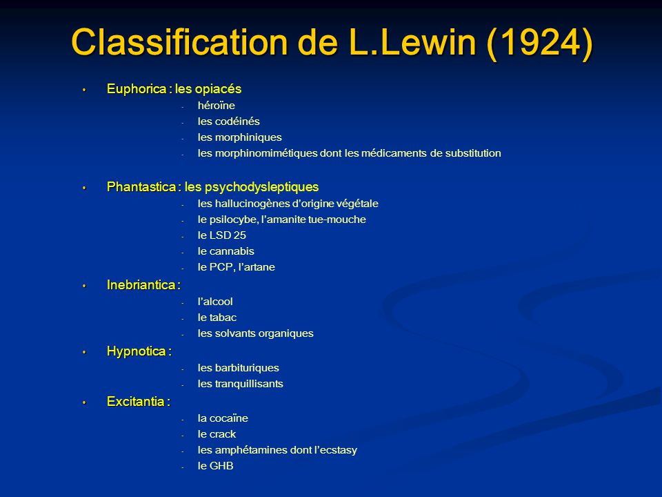 Classification de L.Lewin (1924)